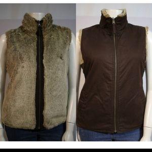 GAP faux crystal fox reversible vest